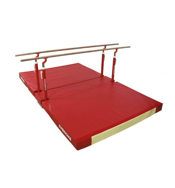 TRAINING PARALLEL BARS WITH FOLDING LEGS, TRANSPORT TROLLEYS AND CUSTOM FOLDING MAT
