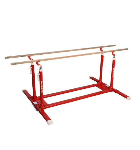 TRAINING PARALLEL BARS WITH FOLDING LEGS AND TRANSPORT TROLLEYS