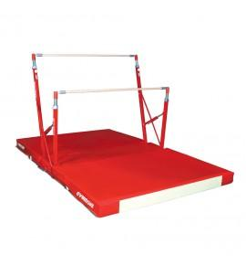 COMPACT ASYMMETRIC BARS - FIXED FEET - WITH TRANSPORT TROLLEY AND FOLDING MAT