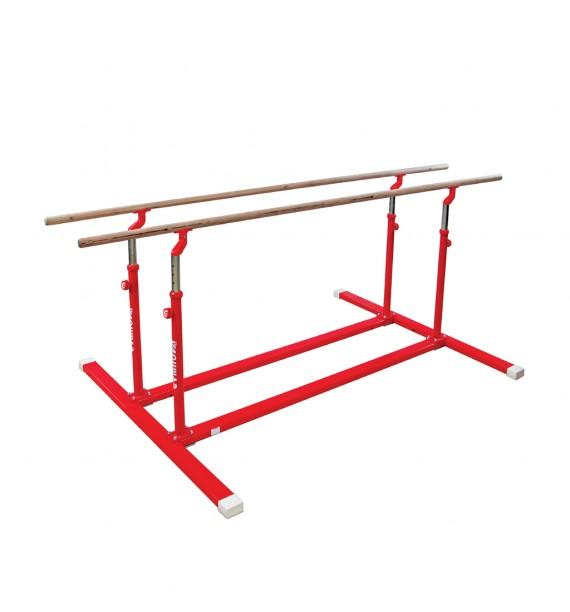 COMPACT PARALLEL BARS WITH FOLDING LEGS AND TRANSPORT TROLLEYS