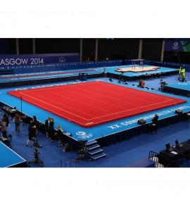 GLASGOW COMPETITION SPRING EXERCISE FLOOR WITH ROLL-UP TRACKS (SPRINGS ASSEMBLED) - 14 x 14 m (*) - FIG Approved