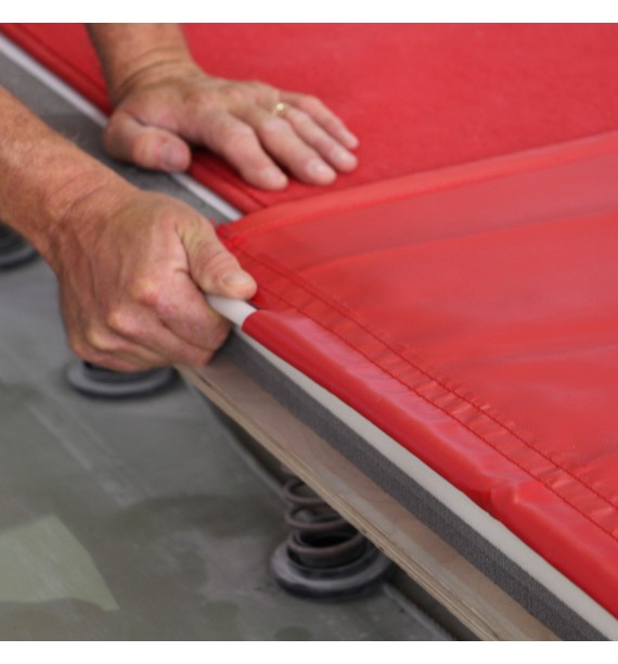 TENSION SYSTEM FOR EXERCISE FLOOR OVERLAY TARPAULIN