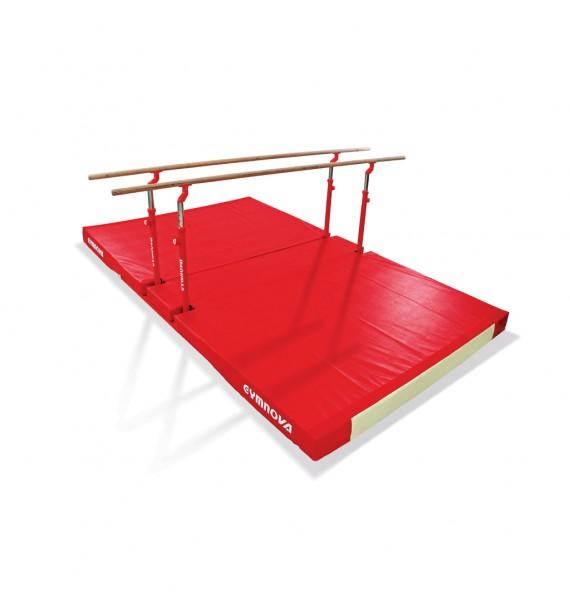 COMPACT PARALLEL BARS WITH FIXED LEGS, TRANSPORT TROLLEYS AND CUSTOM FOLDING MAT