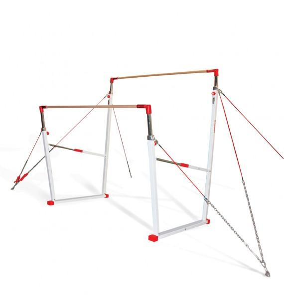 "RIO COMPETITION ASYMMETRIC BARS - STANDARD CABLE - ""DYNAMIC"" WOODEN HAND-RAIL - FIG Approved"